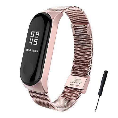 BDIG Für Xiaomi Mi Band 4 Armband Metall, Mi Band 3 Ersatzband Wasserdicht Edelstahl Strap Armband Zubehör für Xiaomi Mi Band 4 Miband 3 (Fitness Tracker Nicht Enthalten)