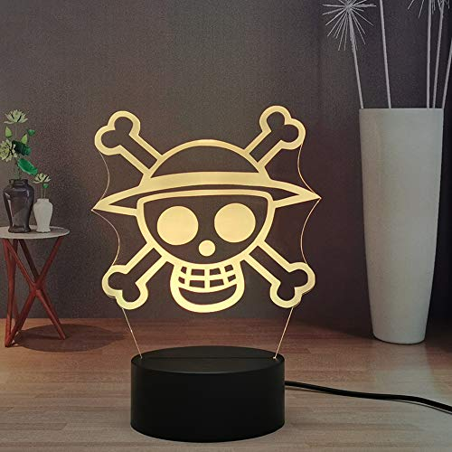 Laysinly Anime ONE Piece Logo Symbol Kids Night Light, Luffy Zoro LED Touch Remote Colorful Night Light, Child Bedroom Decor Cool Desk 3D Lamp Lighting