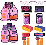 Yomuse Girls Tactical Vest Kits 2 Pack Compatible with Nerf Guns N-Strike Elite Series Pink & Purple
