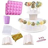Cake Pop Maker Kit, Including Silicone Cakepop Baking Mold, 220ct Lollipop Sticks, Candy Chocolate Melting...