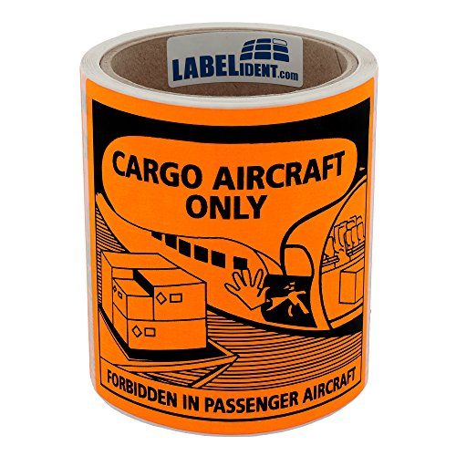 Labelident Transportaufkleber - Luftfracht/Cargo Aircraft Only - forbidden in passenger aircraft - 120 x 110 mm - 100 Verpackungskennzeichen auf 76 mm (3 Zoll) Rolle