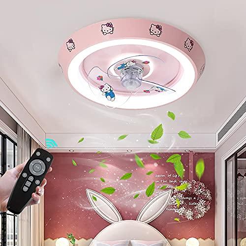 Ventilador De Techo Con Lámpara LED Silencioso Luz de techo para Habitación Infantil Regulable con Mando a Distancia Plafon de techo Moderna Plafón de Luces para Niña Dormitorio Bebe Habitación Sala
