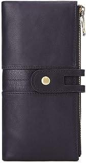 Men's leather cowhide wallet-double zipper clutch, credit card case wallet, with 12 credit card slots,18.5cmx9cmx 2.5 cm (...
