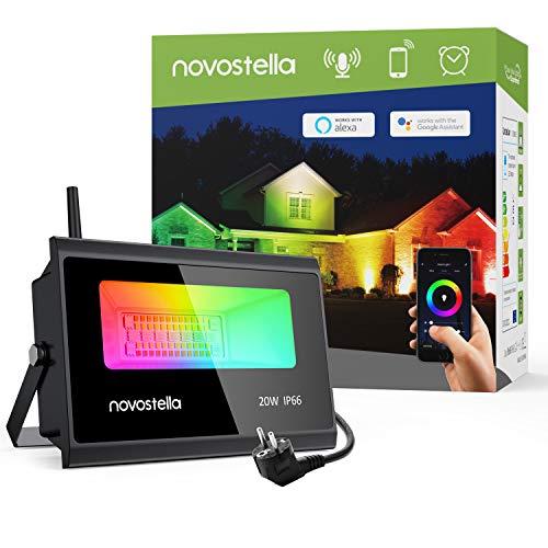 Novostella Faretto LED Intelligente 20W, Faretti Esterno 3 in 1 RGBCW Multicolore, 2000LM Luce da Giardino con WiFi APP Controllo, IP66 Impermeabile Proiettore per iOS y Android con Alexa o Google