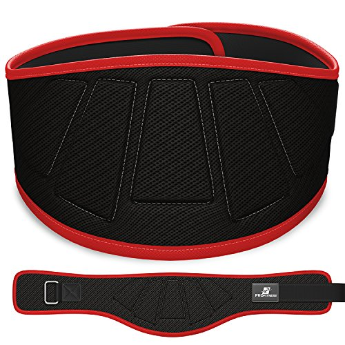 ProFitness Weightlifting Belt (6-Inch-Wide) – Proper Weight Lifting Form – Unisex Back Support for Cross Training Exercises, Powerlifting Workouts (Black/Red, Small)