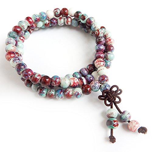 ALoveSoul 108 Ceramic Buddhist Meditation Bracelet - Prayer Beads Mala Bracelet Porcelain Beads Handmade Religious Bracelet