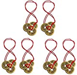 Chinese Fortune Coins Traditional with Red String Feng Shui I-Ching Lucky Coins
