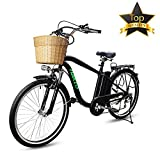 BRIGHT GG NAKTO 26'' 250W Electric City ebike Sport 6-Speed Gear with 36V10AH Lithium Battery, Lock and Charger