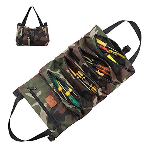 Oeternity Super Tool Roll Bags, Multiusos 600D Oxford Llave Enrollable Bolsas para Herramientas para Automóvil, Motocicleta, Portaherramientas para Colgar con Cremallera, para Jardín Y Electricista,B