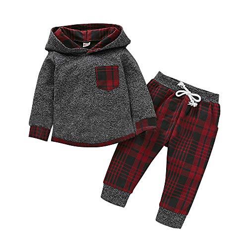 LZH Baby-Winterbekleidungs-Set Für Jungen 0–24 Monate Lange Ärmel Oberteil + Hose 2-Teiliges Set aus Kaschmir,Grau-rotes Gitter,18-24 Monate
