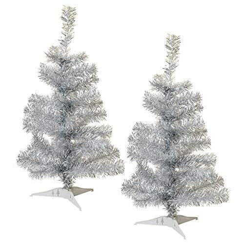 Harbour Housewares 2ft Artificial Christmas Tree with Stand - Silver - Pack of 2