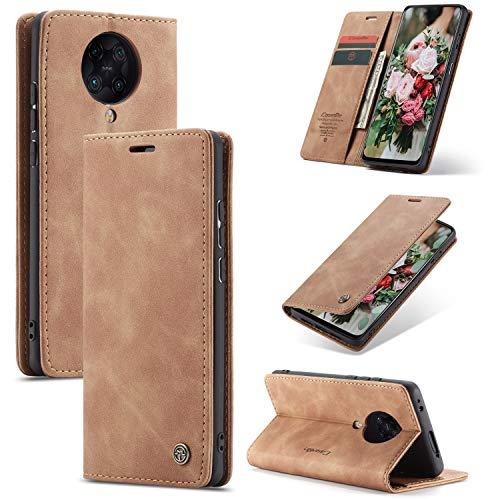 FMPC Handyhülle für Xiaomi Redmi K30 Pro Premium Lederhülle PU Flip Magnet Hülle Wallet Klapphülle Silikon Bumper Schutzhülle für Xiaomi Redmi K30 Pro Handytasche - Braun