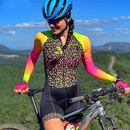 Traje de ciclismo para mujer, manga larga Secado rápido Jersey de ciclismo con cojín de gel, Triatlón de la profesión de las mujeres. (Color : C, Size : X-SMALL)