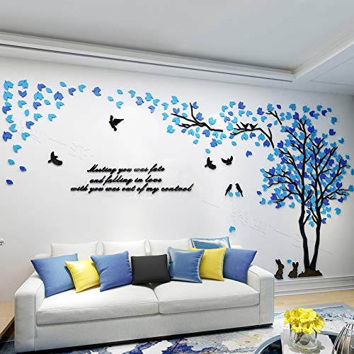 KINBEDY Acrylic 3D Tree Wall Stickers Wall Decal Easy to Install &Apply DIY Decor Sticker Home Art Decor. Tree with Mixed Blue Leaves, Right Large
