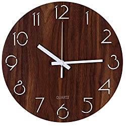 Tiords Decorative Home Office Silent Non-Ticking Quartz Rustic Country Round Wooden Wall Clock, 12 inch Arabic Numeral Battery Operated