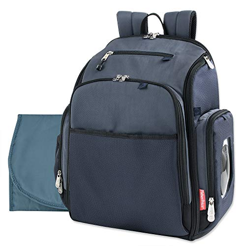 Fastfinder Conjunto de 3 peças de mochila de fraldas para mães e papais com trocador e bolso para lenços, Azul marino, Large