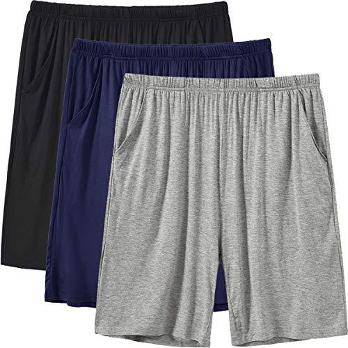 JINSHI Herren Schlafanzughosen Modal Kurz Pyjamahose Nachtwäsche Schlafshorts Schwarz/Marineblau/Hellgrau L/XL(US L)