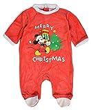 Official Disney - Body - para bebé niña Rojo Mickey Mouse Xmas Tree
