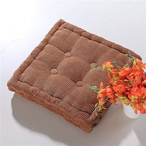 SILUQ Corduroy Tufted Chair Cushion,6cm Thicken Chair Pad,soft Pearl Cotton Padded Seat Cushion,floor Cushion,chair Pillow For Home,office,outdoor Brown 50x50cm