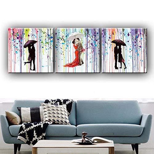 RunYun Abstract schilderij romantische kus liefhebbers onder de paraplu canvas foto's muurkunst handgeschilderd olieverfschilderij voor wooncultuur gif 60cm x90cm geen lijst