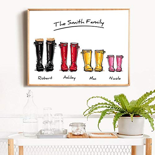 Canvas Paintings Posters & Prints Giclee Family Print Gift Personalised Poster Wellies Wall Art Canvas Painting Wellington Boot Wall Pictures for Liveing Room-(50X75Cm) Frameless
