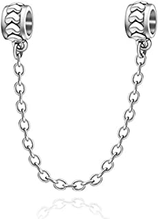 77490fd1c ABAOLA Heart Safety Chain Charm 925 Sterling Silver Beads fit Pandora  Charms Bracelet & Necklace