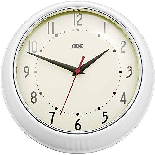ADE Wanduhr CK 1601. Analoge Uhr mit 24 cm Durchmesser, präzisem Quarz-Uhrwerk, Rahmen aus lackiertem Metall und Abdeckung aus Glas. Farbe: Creme + Weiß. Inklusive Batterie