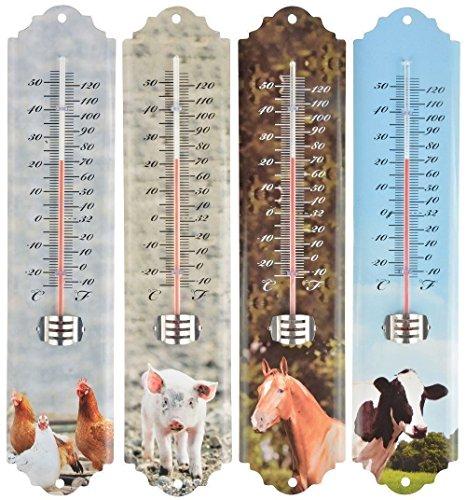 Quirky Thermomètre de jardin avec motif animaux de la ferme. Cheval, Porcinet, Poulet ou Vache Chicken