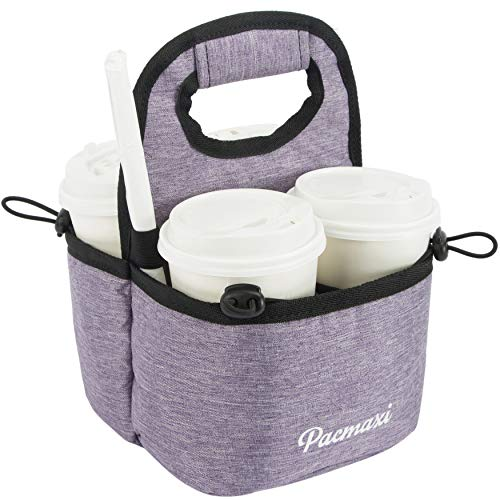 PACMAXI Drink Carrier for Delivery, Reusable Drink Holder for Take Out Office, Picnic, Beach and Outdoor Activities, Waterproof Cup Carrier Tote with Removable Dividers (4 Cups, Light Purple)