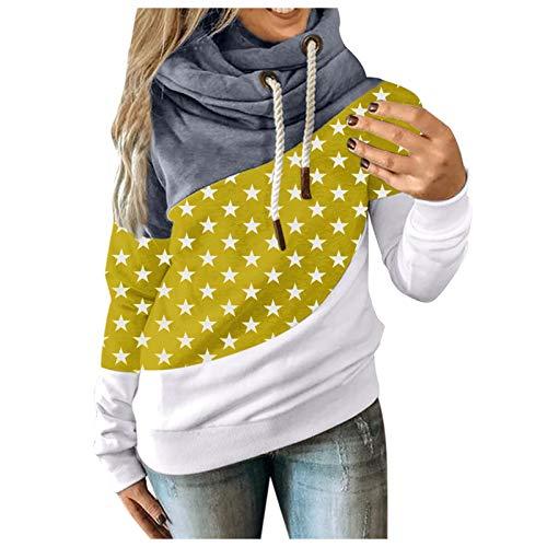 Kapuzenpullover Damen Herbst Winter Hoodie Sweatshirt Freizeit Stern Kontrast Pullover mit Kapuze Strickjacke Langarm Kapuzenshirt Tops, Gelb, S