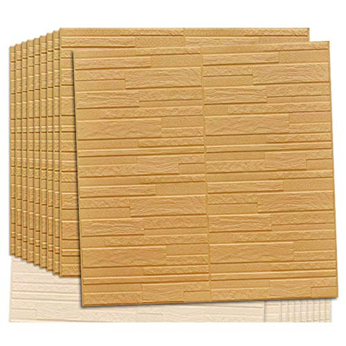 3D Wandpaneel selbstklebende Tapete Foam DIY Brick Stone Wall Paper Wall Stickers Wall Decor wasserdicht TV Hintergrund Wallpaper Umweltschutz,70 * 70cm(cream color10pcs)