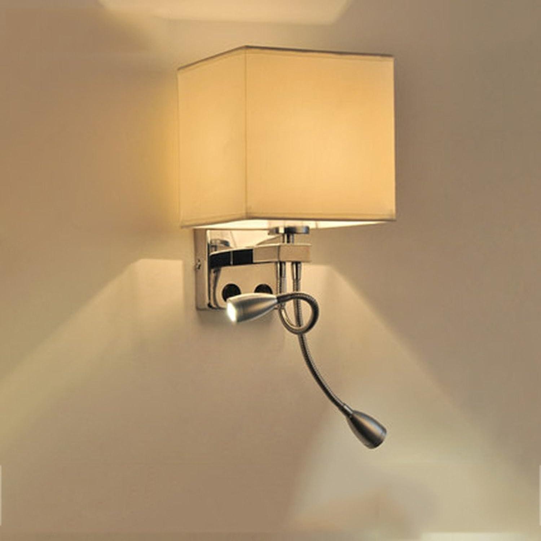 StiefelU LED Treppe Wandleuchte Light Hotel Schlafzimmer über dem Bett, Balkon LED-Wandleuchte mit Schalter, Quadratische weie Dual Head