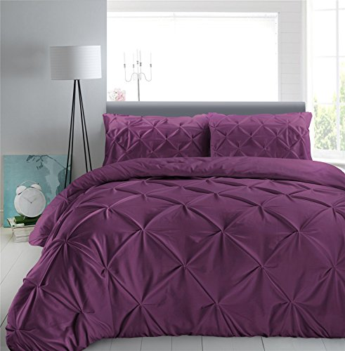 Nimsay Home Luxury Vintage Pure 100% Egyptian Cotton 200 Thread Pinch Pleat Pintuck Puckering Quilt Duvet Cover Set with Pillowcases - Plum - Double