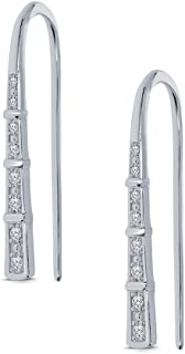 03a08655d6e8 1 10 ct Round White Natural Diamond Sterling Silver Fashion Stud Climber  Earring Ear Cuff