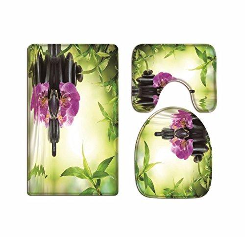 A.Monamour Badezimmer Badematte 3 Teilig Set Yoga Meditation Zen Grünpflanzen Orchidee Blume Felsen Steine Wasser Natürlichen Flanell Saugfähig Badteppiche Badvorleger Badgarnitur WC Vorleger