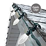 NOMA C9 LED Quick Clip Christmas Lights | Simple Built-in Clip-On Outdoor String Lights | Clear Pure White Bulbs | UL Certified | 25 Light Set | 16.8 Foot Strand