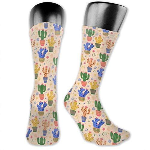 Anime Socks Bunte Kaktus-Pflanze, weich, schnelltrocknend, atmungsaktiv, Sportsocken, Unisex, Crew-Socken, 39,9 cm