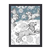 INOV 犬及び雪片ペット青く白い冬 アートパネル 壁掛け インテリア アートフレーム おしゃれ 絵画 額入り ブラックフレーム付き 部屋 壁面