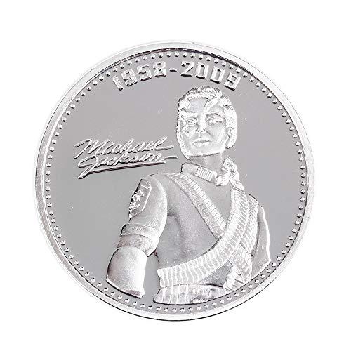 BAQI Michael Jackson Gedenkmünze Der King of Pop 1958-2009 Gedenk Herausforderung Münzen Sammlung Sammeln Geschenk Vintage Musik Legends Retro Münze Display Geschenk (Silber)