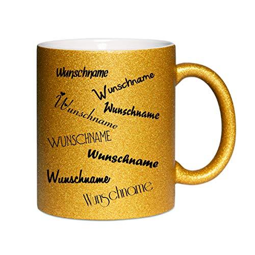 Crealuxe Glitzertasse (Gold) Wunschname - Kaffeetasse, Bedruckte Tasse mit Sprüchen oder Bildern, Bürotasse,