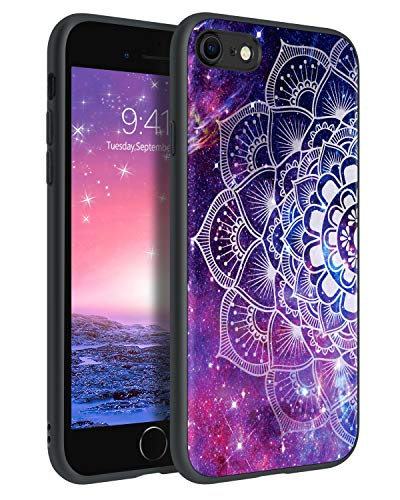 YLINLAI Custodia per iPhone SE 2020, iPhone 8, custodia per iPhone 7, motivo mandala Nebula che si illumina al buio, cover in TPU, antiscivolo, anti-caduta, antigraffio per iPhone SE 2020/7/8