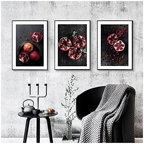 MENGX Impresión de Lienzo de Frutas, Carteles e Impresiones de Granada roja, imágenes artísticas de Pared Modernas, Sala de Estar, decoración del hogar, sin Marco