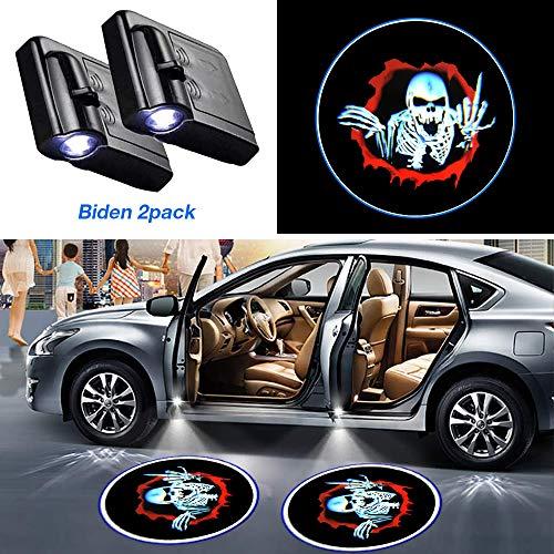 GUOO Car Door Lights Logo Projector Skull Skeleton Universal Wireless Car Door Led Projector Lights Car Door Welcome Logo Projector Lights for All Car Models(2PCS Skull Skeleton)