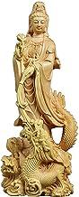Worship Dragon Guanyin Buddha, Boxwood Carving Buddha Sculpture Feng Shui Decoration, Solid Wood Buddha Ornaments, Home/Of...