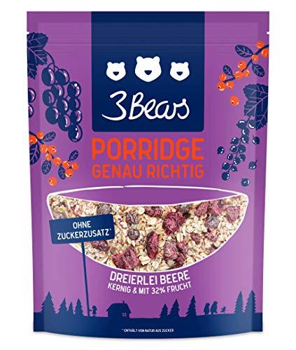 3Bears Porridge Dreierlei Beere (400g) - Viel Frucht Ohne Zuckerzusatz Overnight Oats Haferflocken Frühstück 100% Natürlich