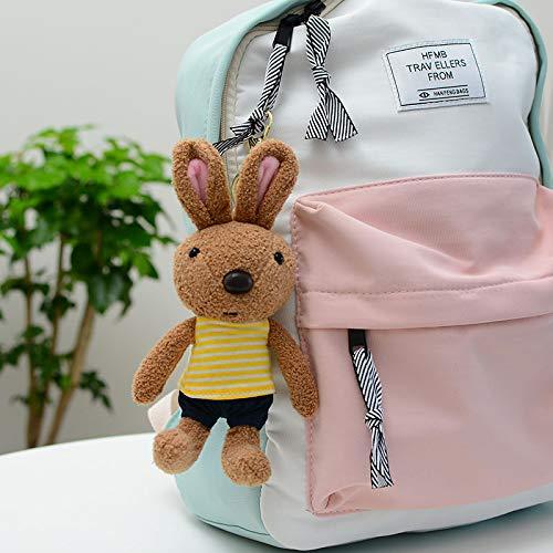 yfkjh Kaninchen Anhänger Schlüsselanhänger, Mini Plüsch kleine Schlüsselanhänger, langohrende Puppe, Kaninchen Zucker Kaninchen 20 cm Gelbe Kleidung Zucker Kaninchen