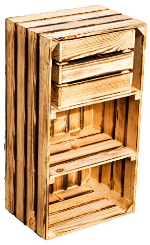 grosse Obstkiste 'EMMA' natur / geflammt mit 2 Zwischenbrettern ca 74,5x40x28,50cm inkl. kleiner Kiste 23x31x27,5cm / Regalkiste Apfelkiste / Weinkisten Ablageregal Aufbewahrungskiste (EMMA GEFLAMMT)
