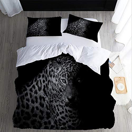 DJDSBJ Duvet Cover Sets, leopard 3D animal printing bedding set for single bed 135 * 200cm + 2 pillowcases