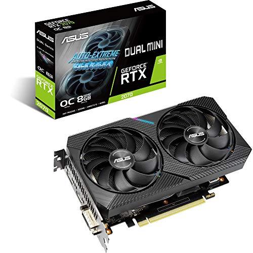 ASUS Dual NVIDIA GeForce RTX 2070 MINI OC Edition, Scheda Video Gaming Compatta, HDMI, DisplayPort, DVI-D, Striscia LED, Ventole AxialTech, Tecnologia 0 dB e Tecnologia Auto-Extreme