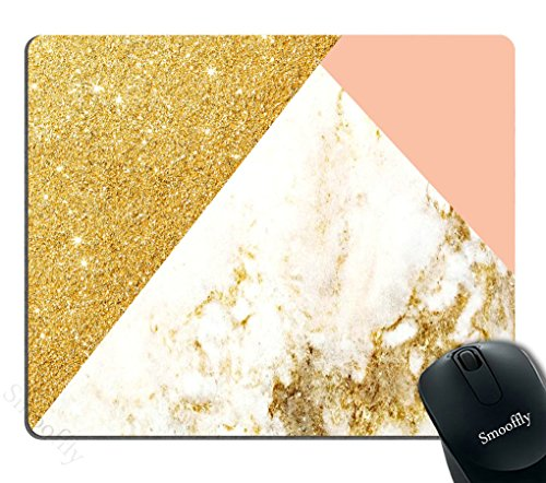 Smooffly Pink Gold White Marbling Rectangle Gaming Mouse Pad Personalized Custom Design,Pink Gold Glitter and White Marble Texture Mouse Pads